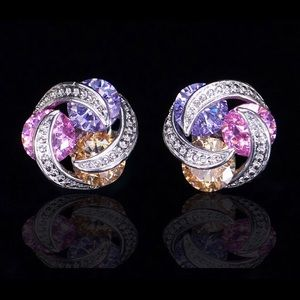 Sparkling Pink Yellow Purple CZ Crystal Earrings